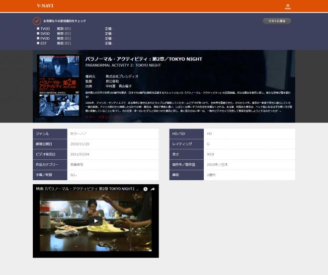 映像権利のオンラインマーケット・V-NAVI。作品ページには権利情報のほか、予告映像や詳細が掲載されている