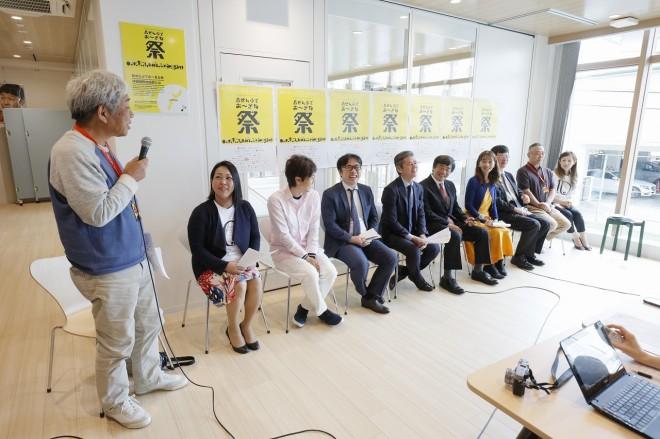 『沖縄アジアエンタテインメントプラットフォーム(仮)』構想発表会見に出席した登壇者。左端は吉本興業の大崎洋CEO