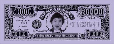 優勝者の顔写真入り専用紙幣セットのイメージ