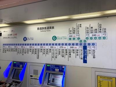横浜市の地下鉄(ブルーライン、グリーンライン)路線図