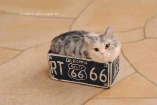 羊毛フェルト 猫プランターサバ白