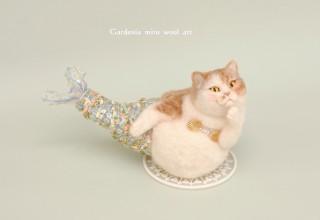 羊毛フェルトの人魚(猫)