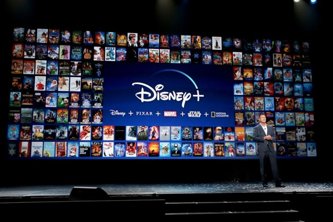 「Disney+」のプレゼンテーションの模様(C)2019 Getty Images