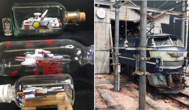 【左】ガンプラ版「ボトルシップ」/制作:ボトール氏【右】昭和の車両基地/制作:あに氏(C)創通・サンライズ