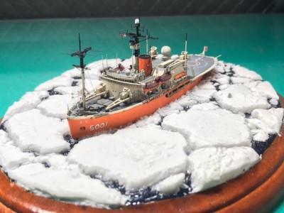 架空艦だけではなく通常のキットも制作/作品:南極観測船「ふじ」制作/制作:虎一(@Toraiti09)