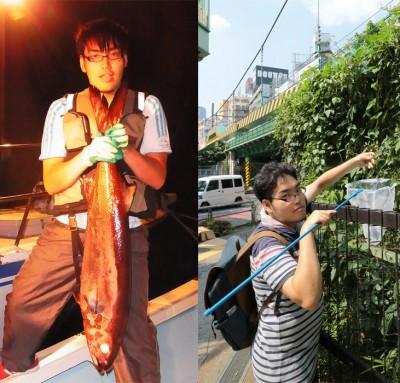 """お尻から油が噴出するという悲劇を招いた""""ワックス魚""""(左)と、渋谷で野草を採取する茸本さん"""