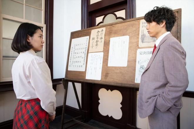 音(二階堂ふみ)は音楽学校のプリンスこと佐藤久志(山崎育三郎)に、歌について相談する(C)NHK