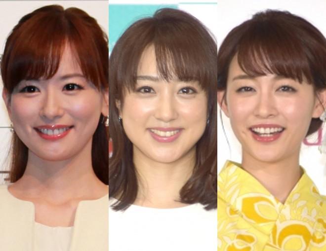 セントフォースに所属する皆藤愛子、川田裕美、新井恵理那アナ