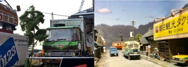 (左)作品:田舎の自動車整備工場の片隅に佇む倉庫代わりの廃車のトラック 制作・画像提供:ワタワタ (右)作品:渓上里村 制作・画像提供/はやまさ鉄道