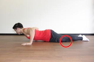 プッシュアップ(腕立て伏せ) 難しい場合は、膝をついて行っても良い。(横アングル2)