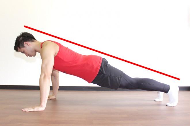 プッシュアップ(腕立て伏せ) [1]手を肩幅の1.5倍の位置に置き腕は真っ直ぐに伸ばす。
