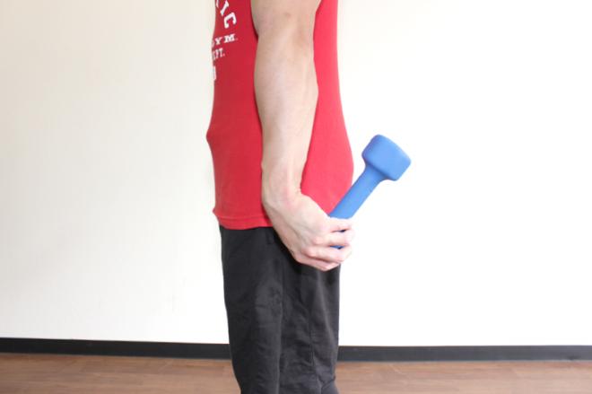 2.手首を小指側に返し、ダンベルの後端を腕に近づけるように持ち上げる。1〜2を繰り返す。