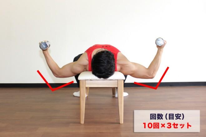 ダンベルフライ [2]胸を張ったままダンベルを降ろしながら、 Wの字になるように腕を適度(90°よりもやや広く)に広げる。[1]〜[2]の動きを繰り返す。