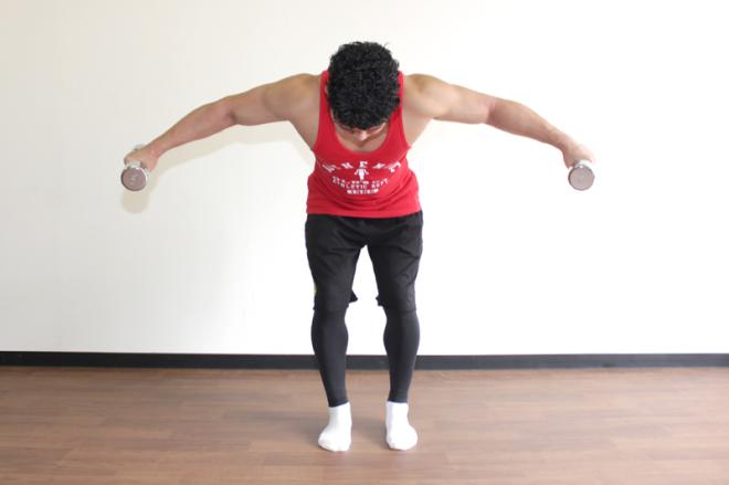 2.上体は前傾したままで、羽ばたくように腕を上げ、ダンベルを持ち上げる。1〜2を繰り返す。