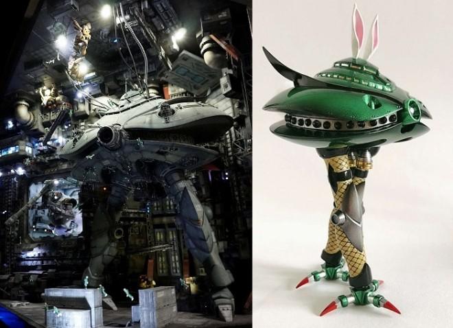 (左)決戦-Decisive battle- 宇宙要塞ソロモン 制作・画像提供/まんねん工房氏 (右)バニービグザム 制作・画像提供/なみお氏 (C)創通・サンライズ