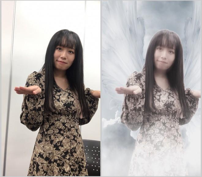 橋本からあげもビリー・アイリッシュの「ウイングズ」レンズを体験! 普通の部屋で撮影していても(左)、アーティストの世界観を表現できる(右)