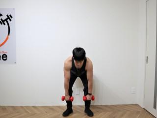 背筋を鍛える際の脊柱起立筋を鍛えるダンベルデッドリフトの動作 2.お尻を後ろに引きながらダンベルを真っすぐ下におろしていく。腰が丸まらないようにダンベルを真っすぐにおろしていく。(正面)