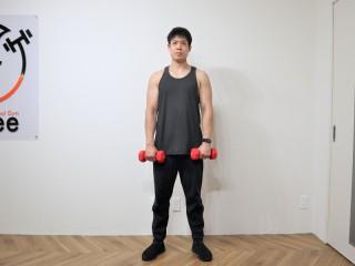 背筋を鍛える際の脊柱起立筋を鍛えるダンベルデッドリフトの動作 3.再び立ち上がる。腰あたりの脊柱起立筋に負荷がかかって鍛えられているのを感じながら行う。1→2→3を繰り返す。(正面)