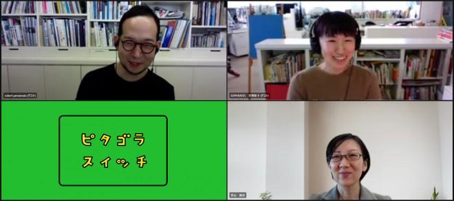 リモートで取材に応じてくれた山本氏(左上)、貝塚氏(右上)、笹山P(右下)
