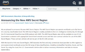 AWS、米政府機関向け「Secret Region」スタート