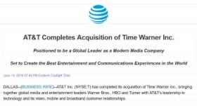 AT&T、Time Warnerの850億ドルでの買収を完了