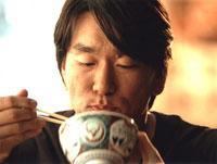 ・ザ・クロマニヨンズの「うめえなあもう」をバックに牛丼を旨そうにほおばる松井選手。<br><br>