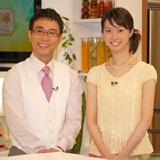 新番組『二人の食卓〜ありがとうのレシピ〜』の会見に出席した八島智人と市川寛子アナウンサー