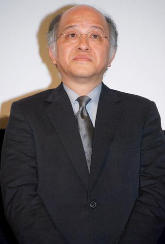 映画『オリヲン座からの招待状』の完成披露試写会での浅田次郎(原作)