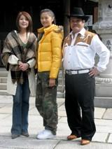 NHK朝の連続テレビ小説『瞳』の撮影会見に登場した(左から)飯島直子、榮倉、西田敏行