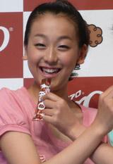 7月27日、『ネスレ エアロ』のイメージキャラクター契約発表会に出席した浅田真央
