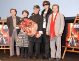 左からナレーションの永井一郎、ララァ・スン役の藩恵子、富野監督、Gackt、シャア・アズナブル役の池田秀一