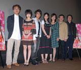 左から小中和哉監督、福永マリカ、佐野和真、夏帆、秋本奈緒美、近藤芳正、丹羽多聞アンドリウプロデューサー