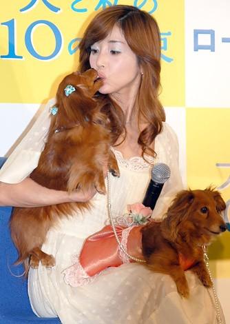 愛犬ココナツとキスする川島なお美。とそのひざの上に座るシナモン