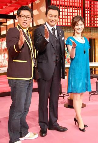 日本テレビ系新番組『日本史サスペンス劇場』の記者会見に出席した(左から)ビビる大木、船越英一郎、鈴江奈々アナウンサー