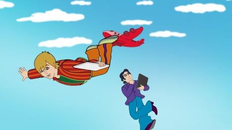 空翔ぶ2人(左・山下智久、右・田村正和)