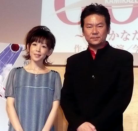 舞台『THE WINDS OF GOD〜零のかなたへ〜』の製作発表に出席した今井雅之、鈴木早智子