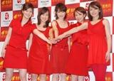 『北京オリンピック 民放テレビ放送』の記者発表会に出席した各局女子アナウンサ