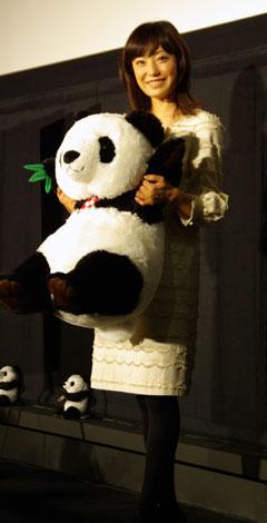 パンダ人形を抱く菅野美穂