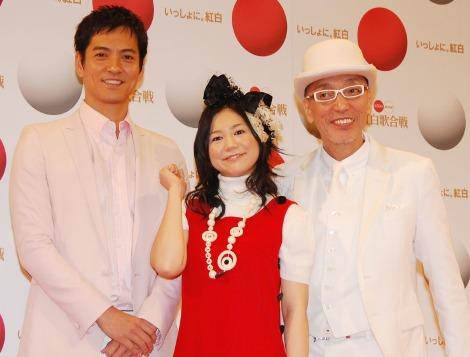 NHK『第59回紅白歌合戦』の応援隊を務める沢村一樹、関根麻里、テリー伊藤