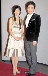NHK時代劇スペシャル『母恋ひの記』の記者会見に出席した(左から)黒木瞳、劇団ひとり