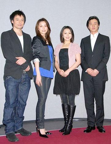 NHK時代劇スペシャル「花の誇り」の会見に出席した(左から)山口馬木也、瀬戸朝香、酒井美紀、葛山信吾