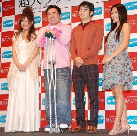 ドラマ『超人ウタダ』の試写会イベントに参加した、(左から)工藤里紗、ドランクドラゴン・塚地武雅、鈴木拓、川村ゆきえ