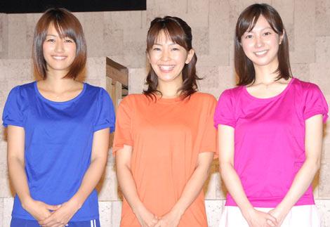 舞台『VOICE6』の通し稽古を行った、(左から)前田有紀アナ、大木優紀アナ、市川寛子アナ