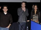 左からJ.J.エイブラムス監督、主演のクリス・パイン、ゾーイ・サルダナ
