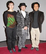 NHK「25分 私が初めて創ったドラマ」の会見に出席した(左から)阿由葉聡子さん、鳥羽潤、小山和行さん