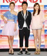 『ラウンドワン』新キャラクター&新CM発表会に出席した(左から)マリエ、中尾明慶、今井りか