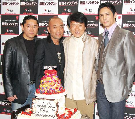 映画『新宿インシデント』ジャパンプレミアに登場した(左から)拳也、竹中直人、ジャッキー・チェン、加藤雅也