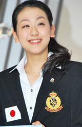 テレビ朝日『世界フィギュアスケート国別対抗戦2009』の記者会見に出席した浅田真央
