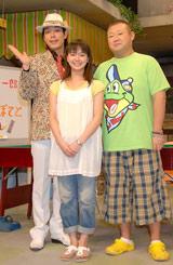 NHK連続テレビ小説『つばさ』の会見に出席の模様(左から)川島、多部未華子、脇知弘