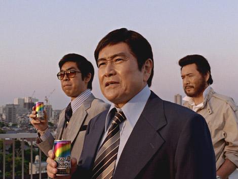 『ボス』新CMに出演している(左から)ゆうたろう、竜雷太、木之元亮